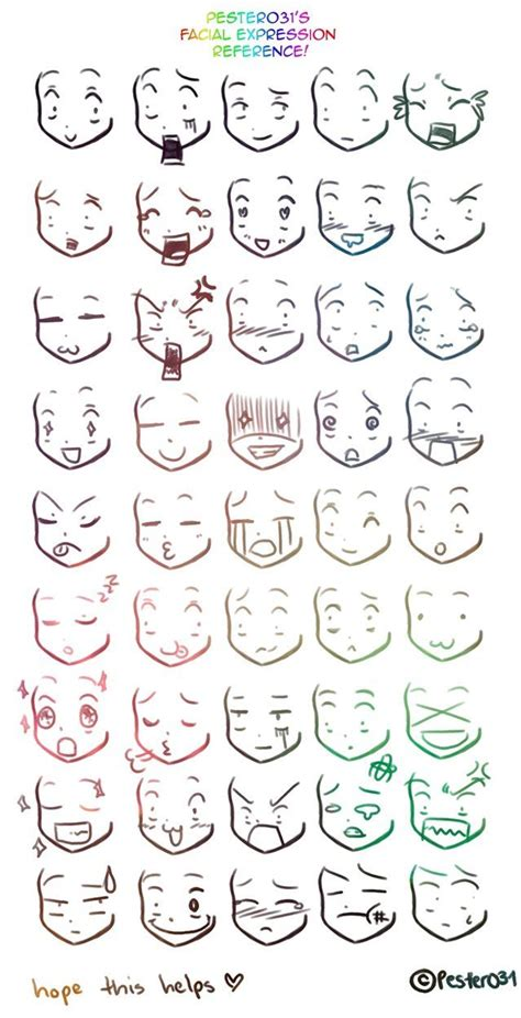Drawing Expressions by A Reference On Drawing Chibi Faces 3