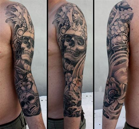 tribal skull sleeve tattoos lotus skull japanese sleeve tattoos i want like