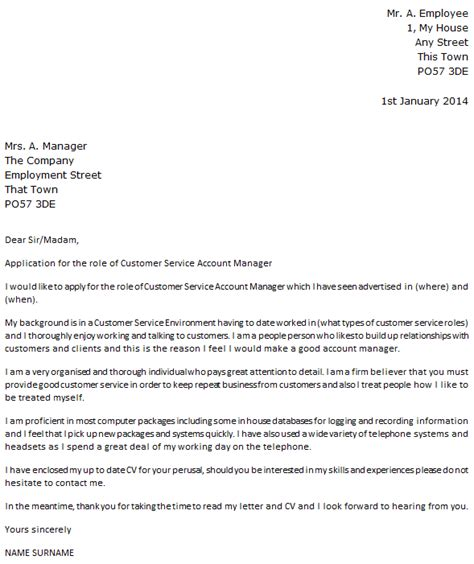 cover letter for customer service manager customer service account manager cover letter exle