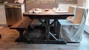 Farmhouse Table With Bench And Chairs by Farmhouse Kitchen Table With Bench Custom Square Farm