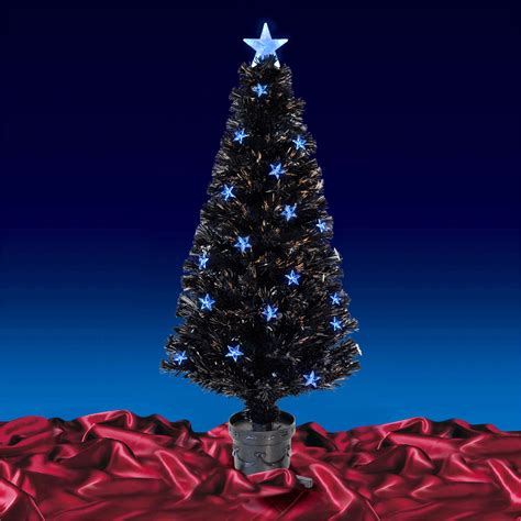 black fibre optic artificial indoor christmas tree blue