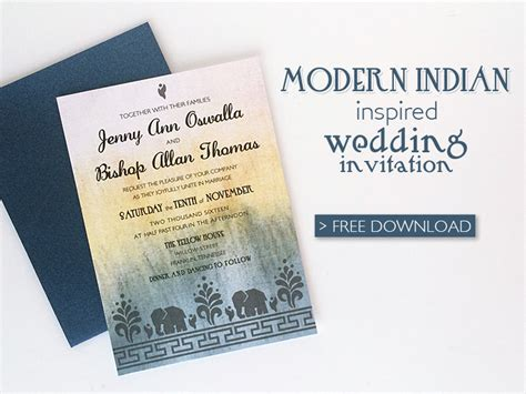 modern wedding invitations templates free modern indian wedding invitation printable template