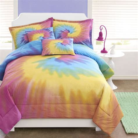 tie dye bed set girls rainbow tie dye comforter sham bedding set