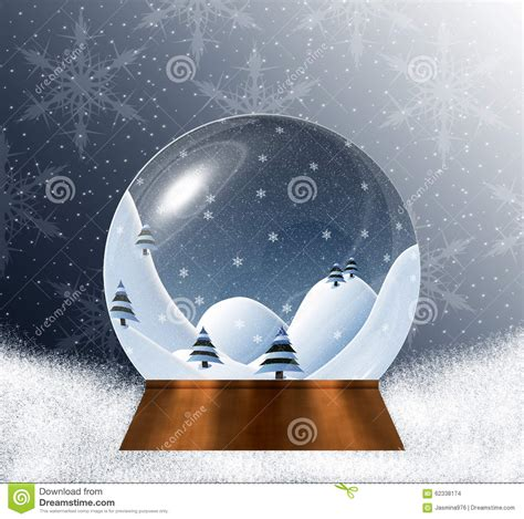 winter scene snow globes snow globe with miniature winter landscape inside stock illustration image 62338174