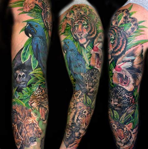 jungle theme tattoos fantastic animal sleeve ideas