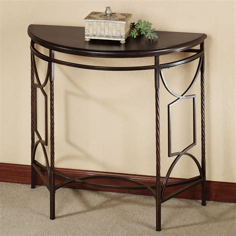 metal demilune console table saving small hallway spaces with mahogany demilune table