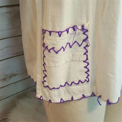 Blouse White Vintage Embriodery vintage vintage peasant blouse w purple yarn