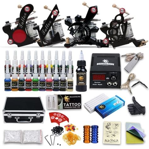 tattoo kit new image dragonhawk complete tattoo kit 4 tattoo machines guns kit