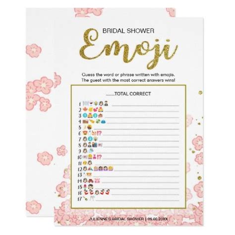 pictionary card template bridal shower emoji dictionary gold pink card