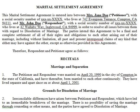 Marital Settlement Agreement Jooglaw Marriage Settlement Agreement Template
