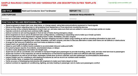Railroad Conductor And Yardmaster Job Title Docs