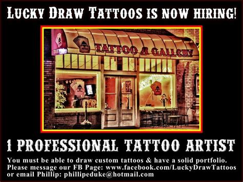 lucky draw tattoo now hiring lucky draw tattoos