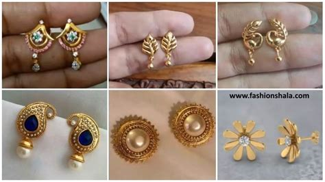 Simple Daily Wear Earrings Gold Images