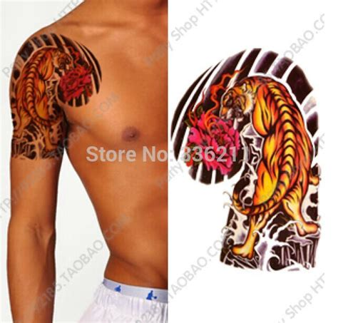 tattoo junkee free shipping 3pcs 2018 big large tiger peony designs temporary tattoo