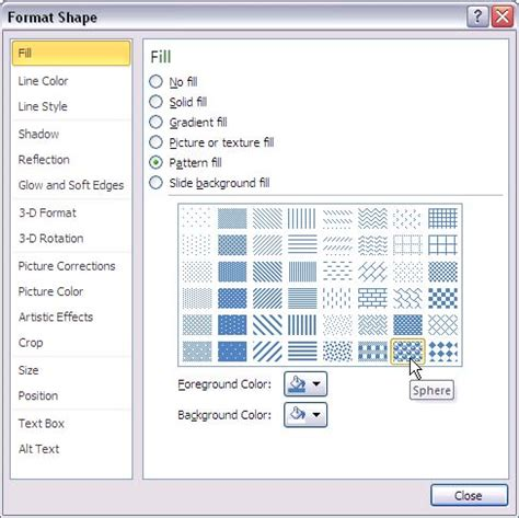 Powerpoint Shape Pattern Fill | add pattern fills to shapes in powerpoint 2010 for windows