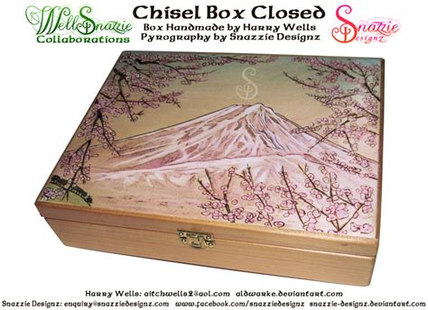 handmade chisel box outside pyrograph by snazzie designz