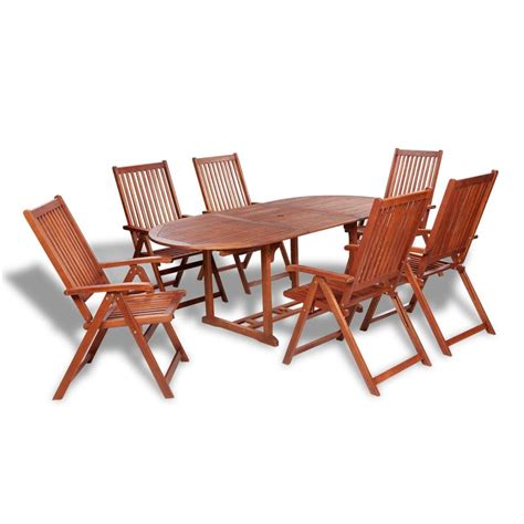 Outdoor Wood Dining Chairs Vidaxl Wooden Outdoor Dining Set 6 Adjustable Chairs 1 Extension Table Vidaxl