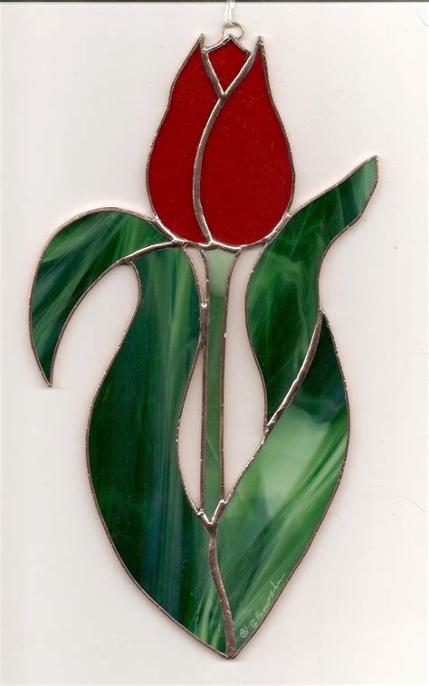 flower pattern glass stained glass flower tulip red suncatcher t031 glass