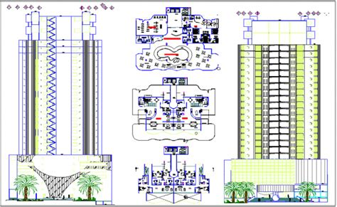 building floor plan detail and elevation view detail dwg file high rise commercial building elevation section view and
