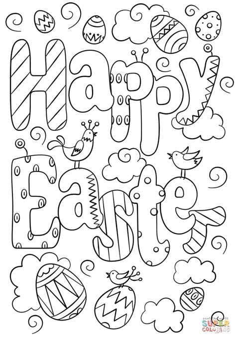 happy easter coloring pages happy easter doodle coloring page free printable