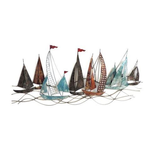 d 233 coration murale m 233 tal bateaux voiles textur 233 es 102x45