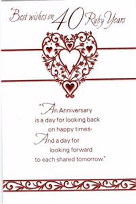 Ruby Wedding Anniversary Card Verses by Ruby Wedding 40th Anniversary Card With Fabulous