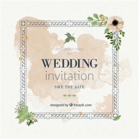 Wedding Card Frames by Vintage Wedding Card With Frame And Watercolor Splashes