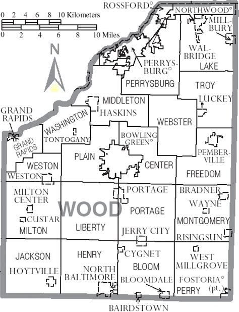 file map of wood county ohio with municipal and township