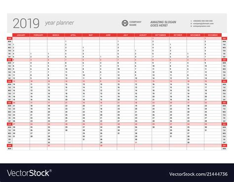 Yearly Wall Calendar Planner Template For 2019 Vector Image 2019 Planner Template
