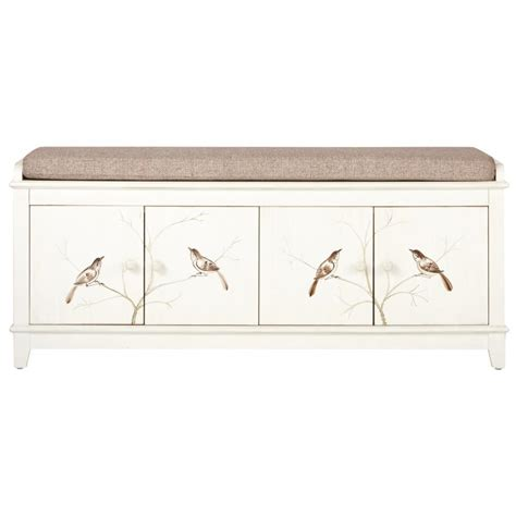 antique white storage bench home decorators collection chirp antique white storage