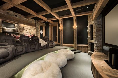 Home Theater Design Houzz Yellowstone Club Summit Residence Rustic Home Theater