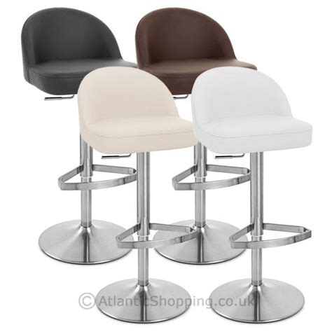 brushed metal bar stools mimi real leather brushed steel kitchen breakfast bar