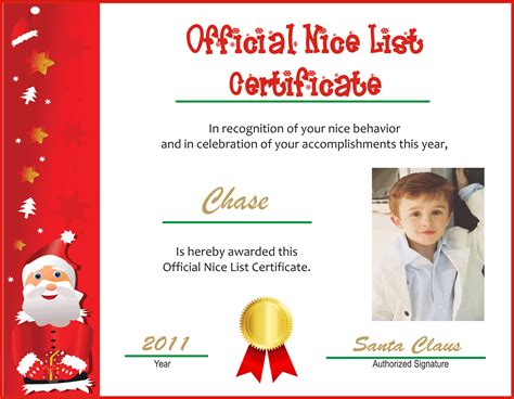 search results for santa good list certificate