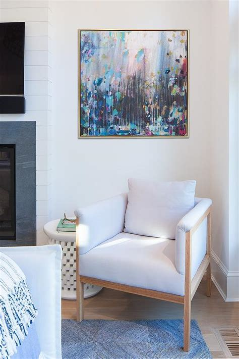 pink  blue abstract art  corner chair