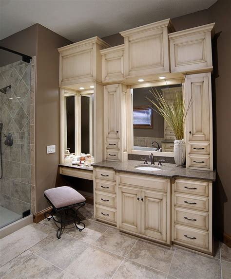 custom bathroom vanities  makeup area woodworking