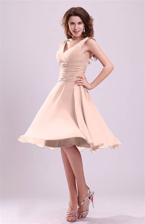 Dusty Rose Bridesmaid Dress   Cute A line Sleeveless Chiffon Knee Length Short Ruching   BjsBridal