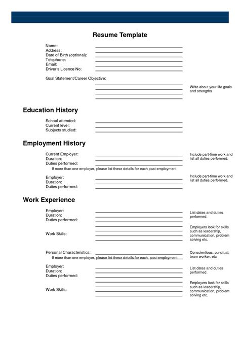 free template for resume free printable sle resume templates http www