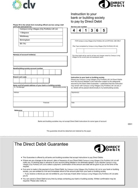 direct debit form direct debit form templates forms direct debit