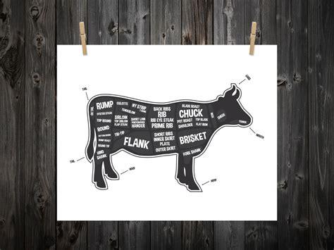 butcher cow diagram cow butcher diagram butcher print butcher chart cow