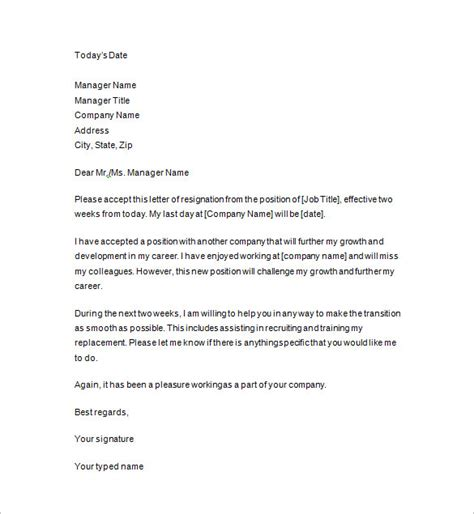 two weeks notice letter 8 free sle exle format
