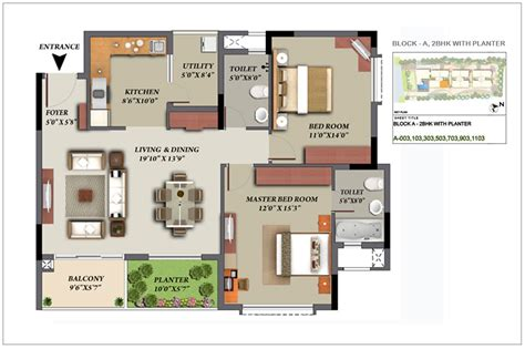 Typical Floor Plan by Mantri Glades Floor Plan Glades Landscape 2 2 5 3 Bhk