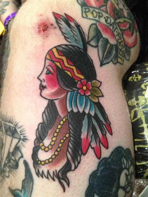 old school indian tattoo meaning indian girl by dustin golden tattoonow