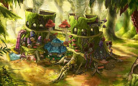 fantasy art digital art house mushroom tree stump