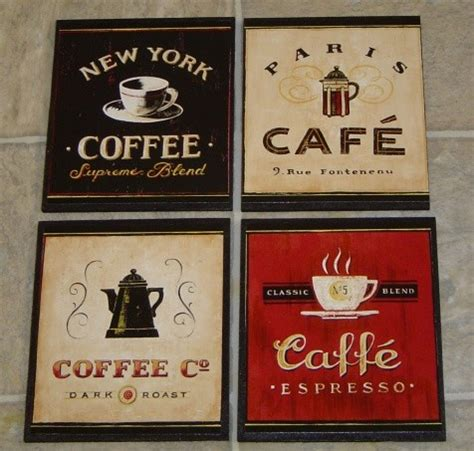 Cute Kitchen Canister Sets by 4 Coffee Cafe Wall Plaques Pictures Signs Kitchen Or
