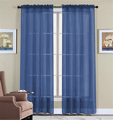 Navy Blue Sheer Curtains Onestopshop S Navy Blue Voile Sheer Panel Drape Curtain For Your Window Fully Stitched And