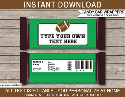 football hershey bar wrappers personalized bars