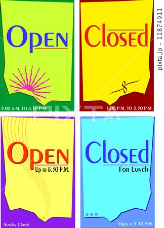 open closed sign template sign open closed templateのイラスト素材 11874911 pixta