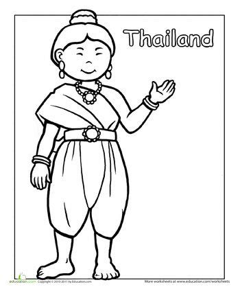 thai traditional dress coloring page