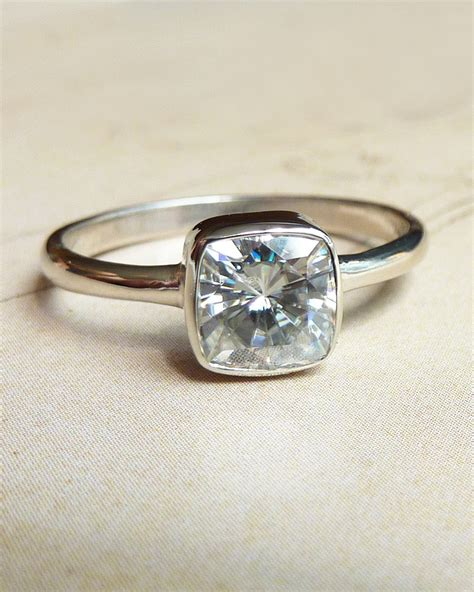 Moissanite Rings by Cushion Cut Moissanite Engagement Ring