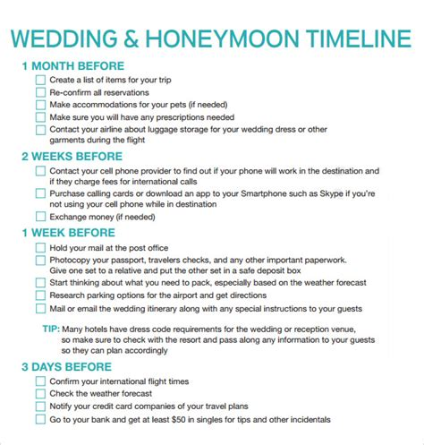 wedding timeline template 9 free download for pdf